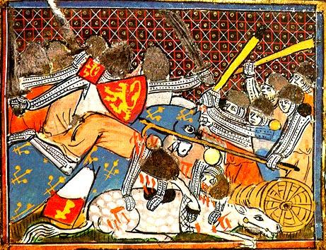 Illustration of the Battle of Courtrai from the 14th century