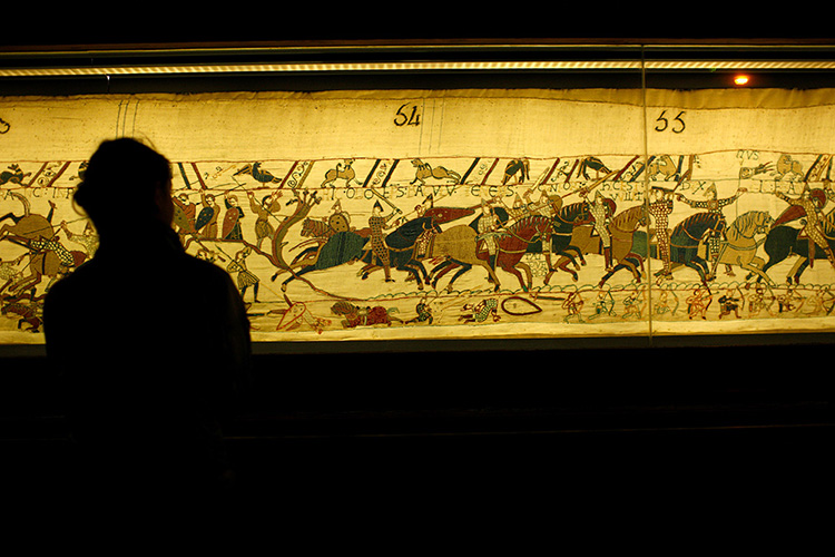 The Bayeux Tapestry on display in Bayeux.