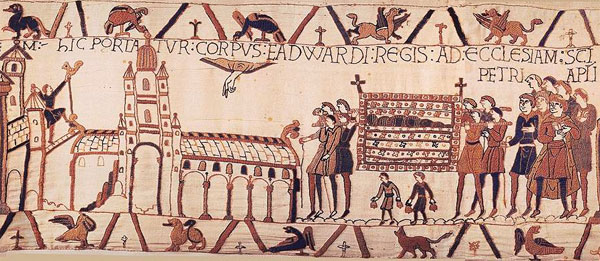 The body of Edward the Confessor is carried to Westminster Abbey, a detail from the Bayeux Tapestry, c. 1082