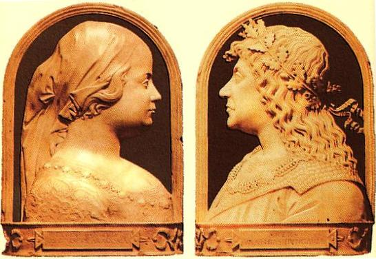 Renaissance-style cameos of Matthias and his Aragonese queen Beatrix, who brought with her an influx of Italian artists