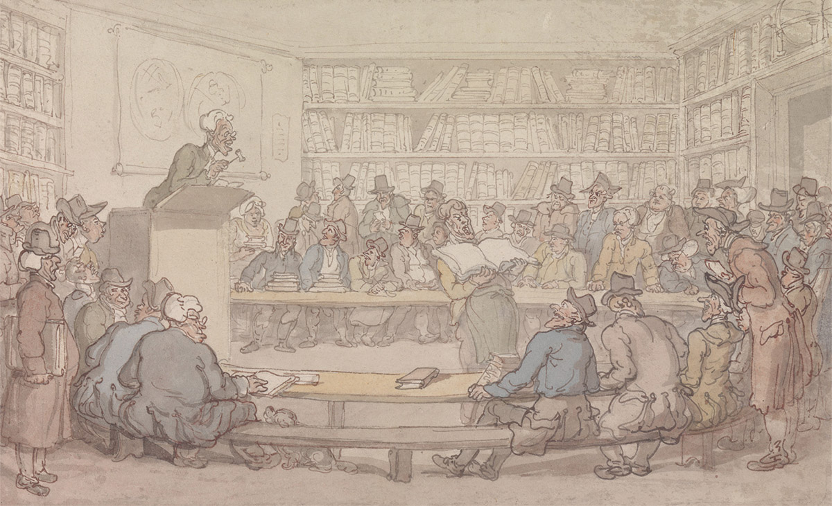 Thomas Rowlandson, A Book Auction, c.1810–1815. Yale Center for British Art, Paul Mellon Collection.