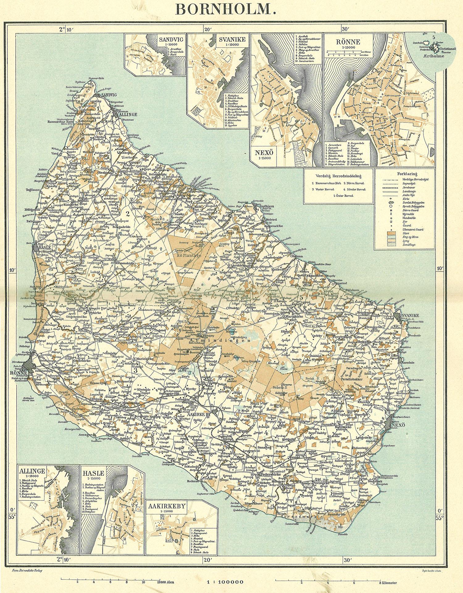 博恩霍尔姆地图,1900年。