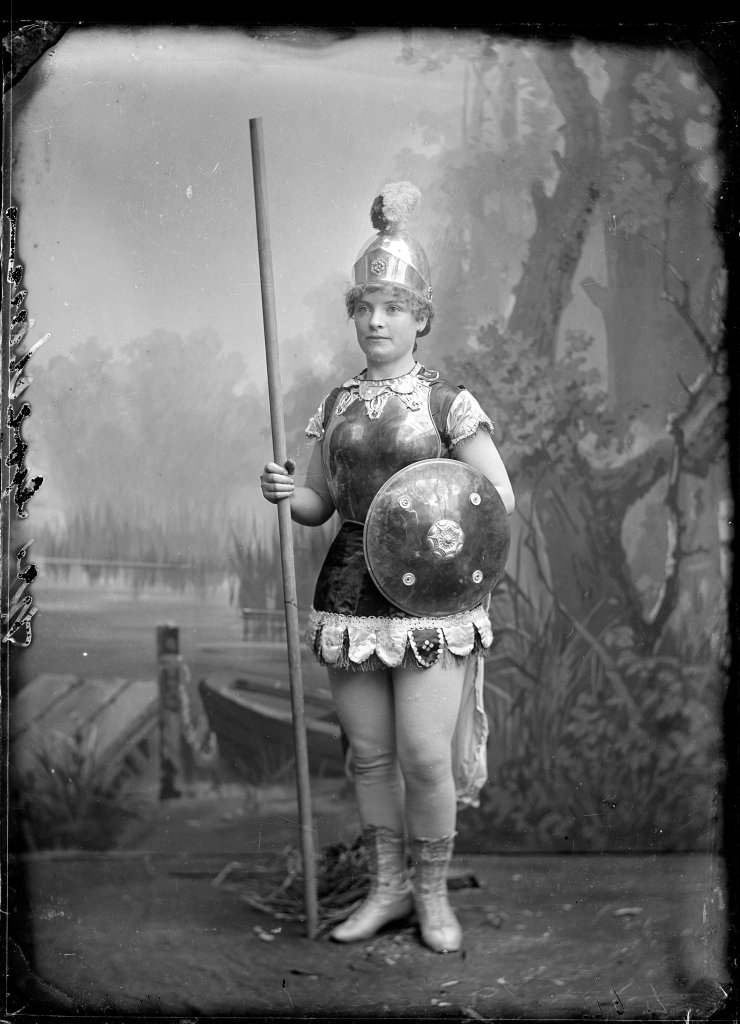 Portrait of a young woman dressed as Boudica, or 'Mother England', c.1900.