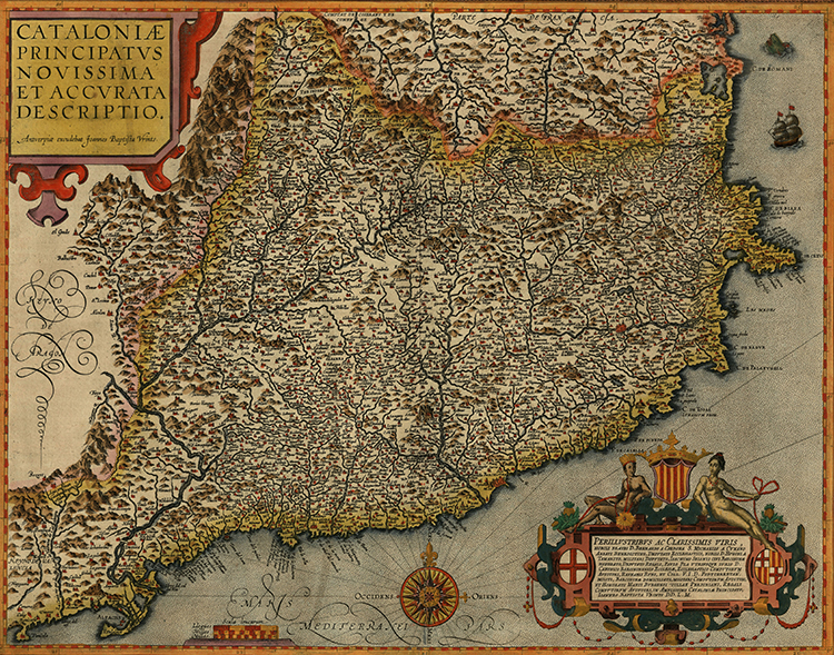 Map of Catalonia, Jan Baptist Vrients, 1608.