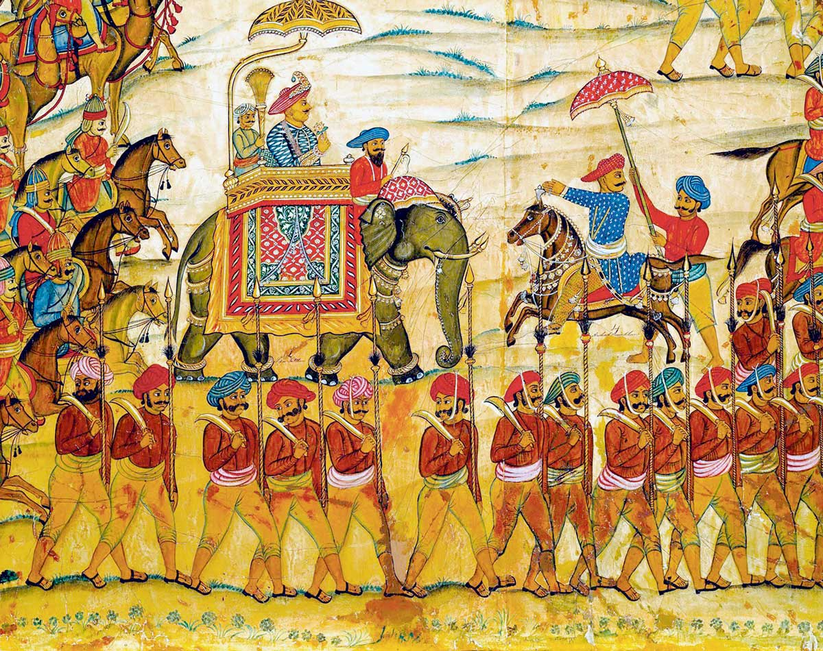 Tipu Sultan and his entourage, from The Battle of Pollilur (detail), c.1784 © Bridgeman Images.