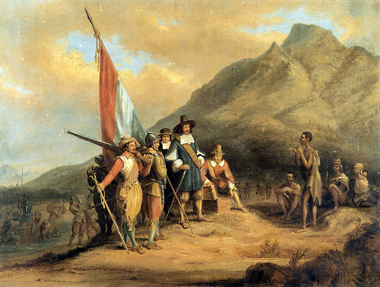 Jan van Riebeeck arrives in Table Bay in April 1652, Charles Davidson Bell (1813-1882).