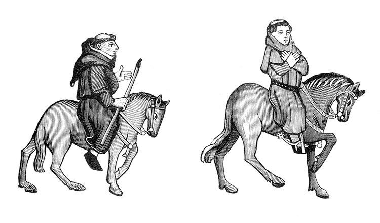 The Friar and Parson, from the Ellesmere Manuscript of the Canterbury Tales.