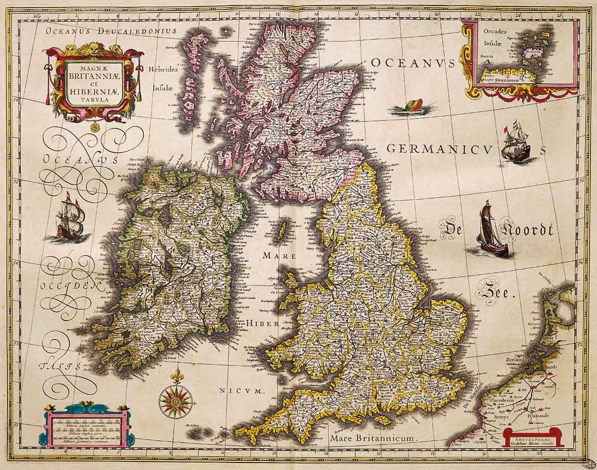 Great Britain and Ireland, from the Theatrum Orbis Terrarum, by Willem Blaeu, 1635 © Bridgeman Images.