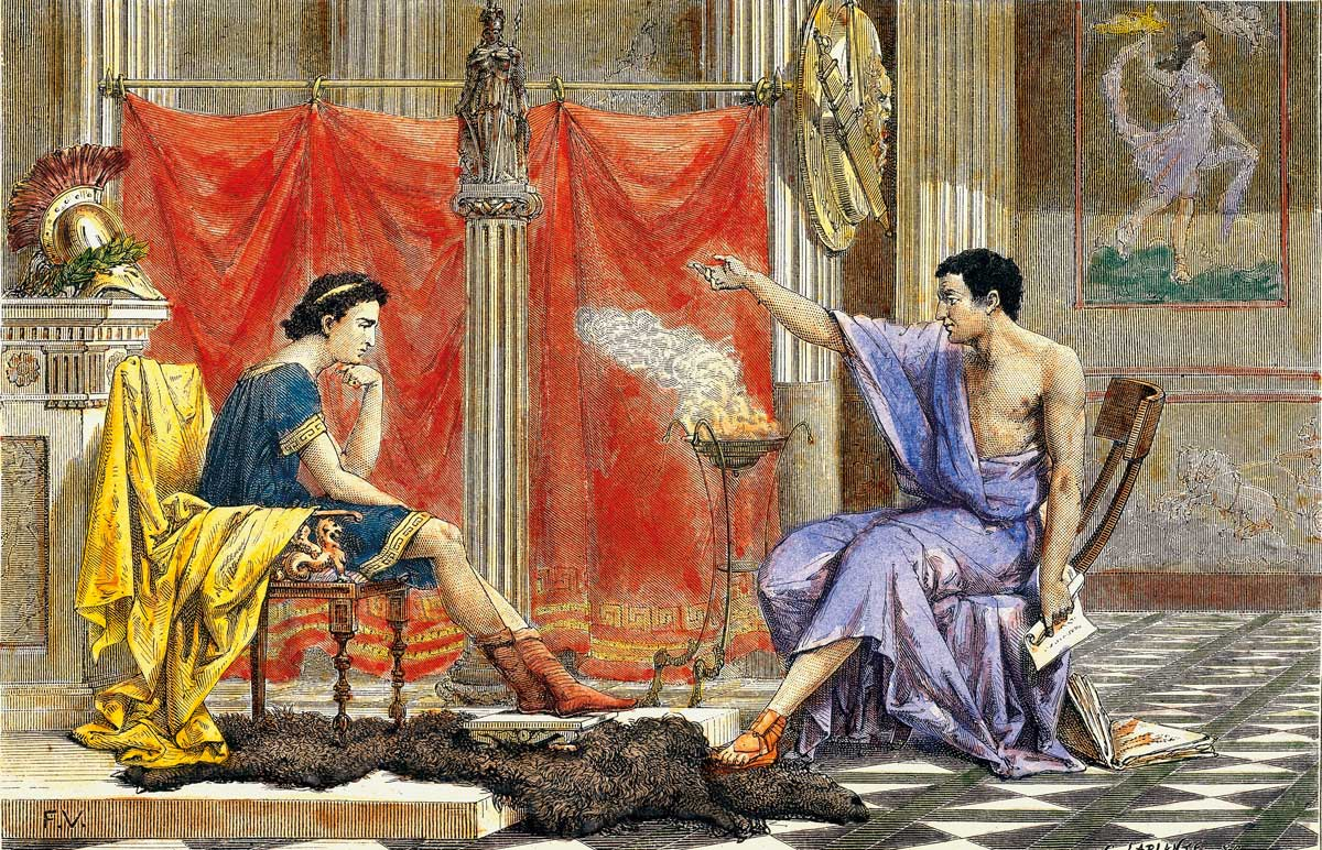 King and counsel: Aristotle and his Pupil Alexander, woodcut, by Otto Spamer, 1876 © akg-images.