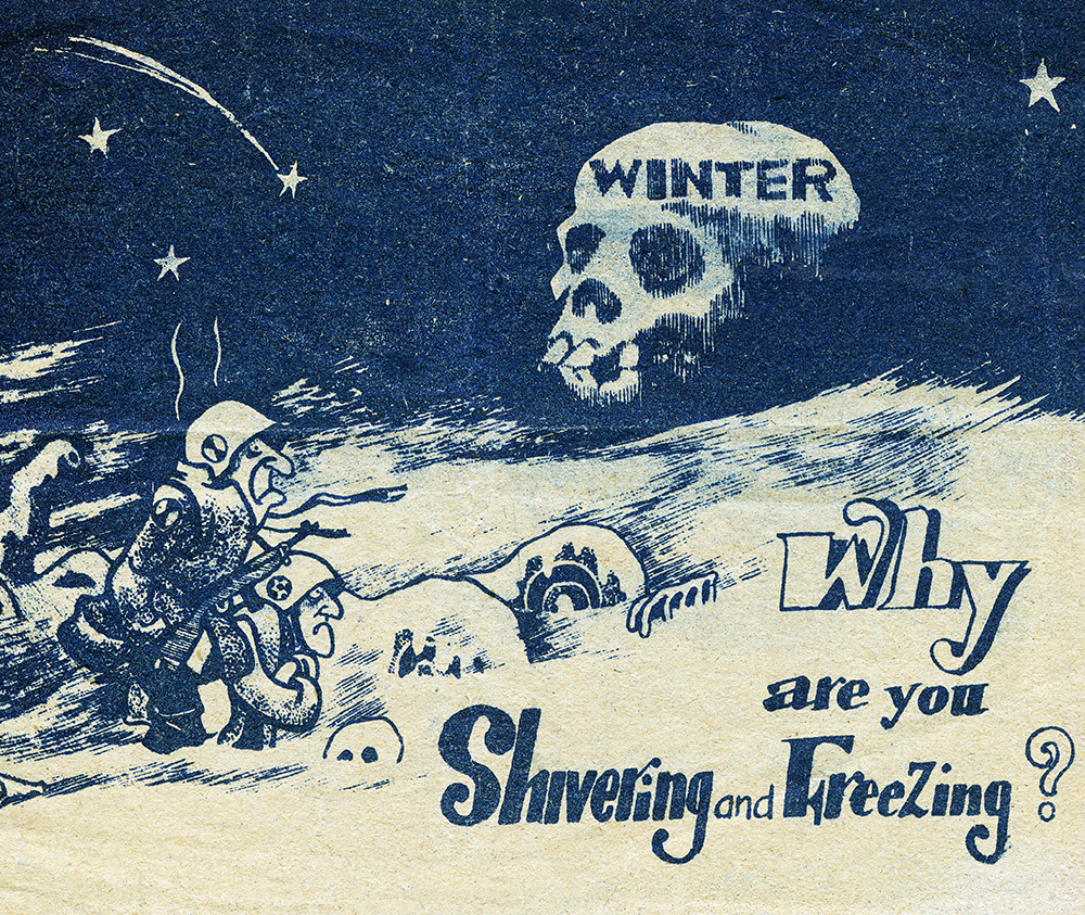 North Korean leaflet mocking American and UN forces suffering the bitter Korean winter. © Bridgeman Images