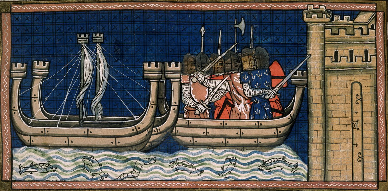 Detail of a miniature of the attack on Damietta, French.
