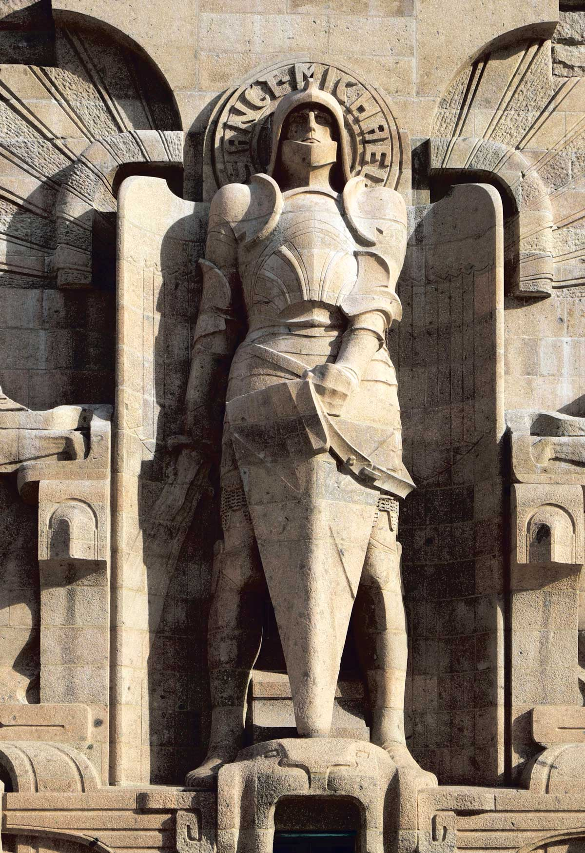 Statue of St Michael at the Völkerschlachtdenkmal, or Monument to the Battle of the Nations, Leipzig, opened in 1913 Michael Nitzschke/Alamy