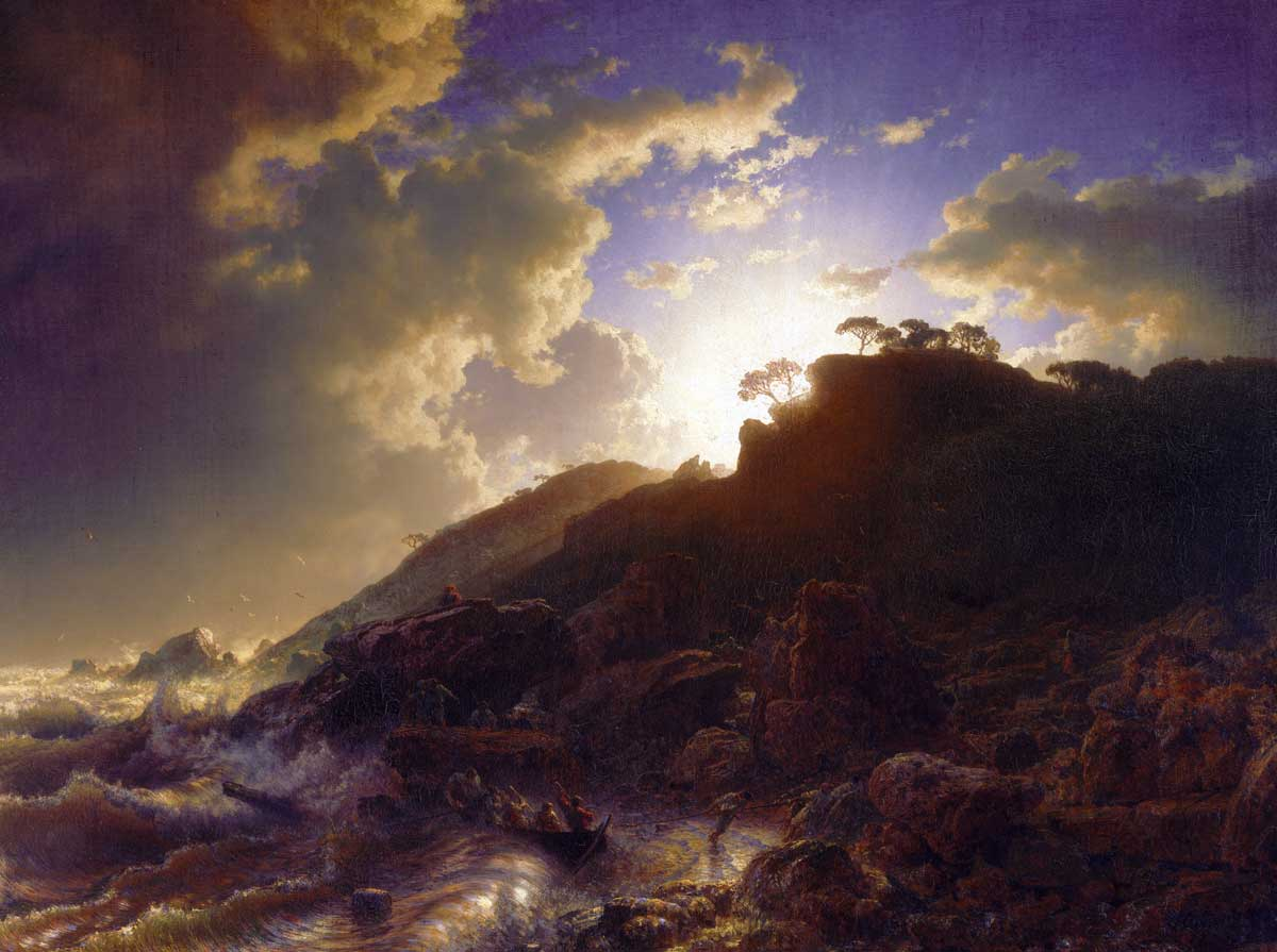 Sunset after a Storm on the Coast of Sicily,  by Andreas Achenbach, 1853 © akg-images.