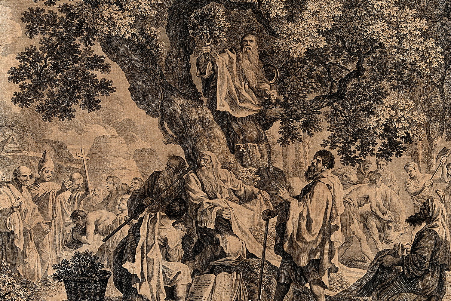'The Druids; or the conversion of the Britons to Christianity'. Engraving by S.F. Ravenet, 1752, after F. Hayman.