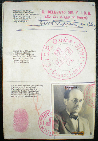 The Red Cross identitity document Adolf Eichmann used to enter Argentina under the fake name Ricardo Klement in 1950, issued by the Italian delegation of the Red Cross of Geneva.