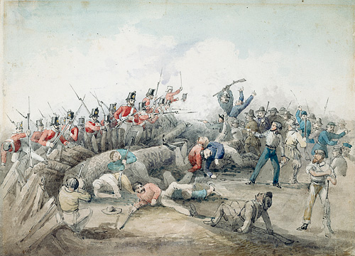 Eureka Stockade Riot. J. B. Henderson (1854) watercolour