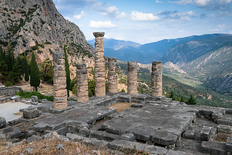 The Temple of Apollo at Delphi. Alamy