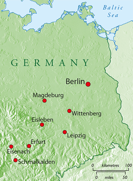 A map showing Luther's travels throughout Germany.