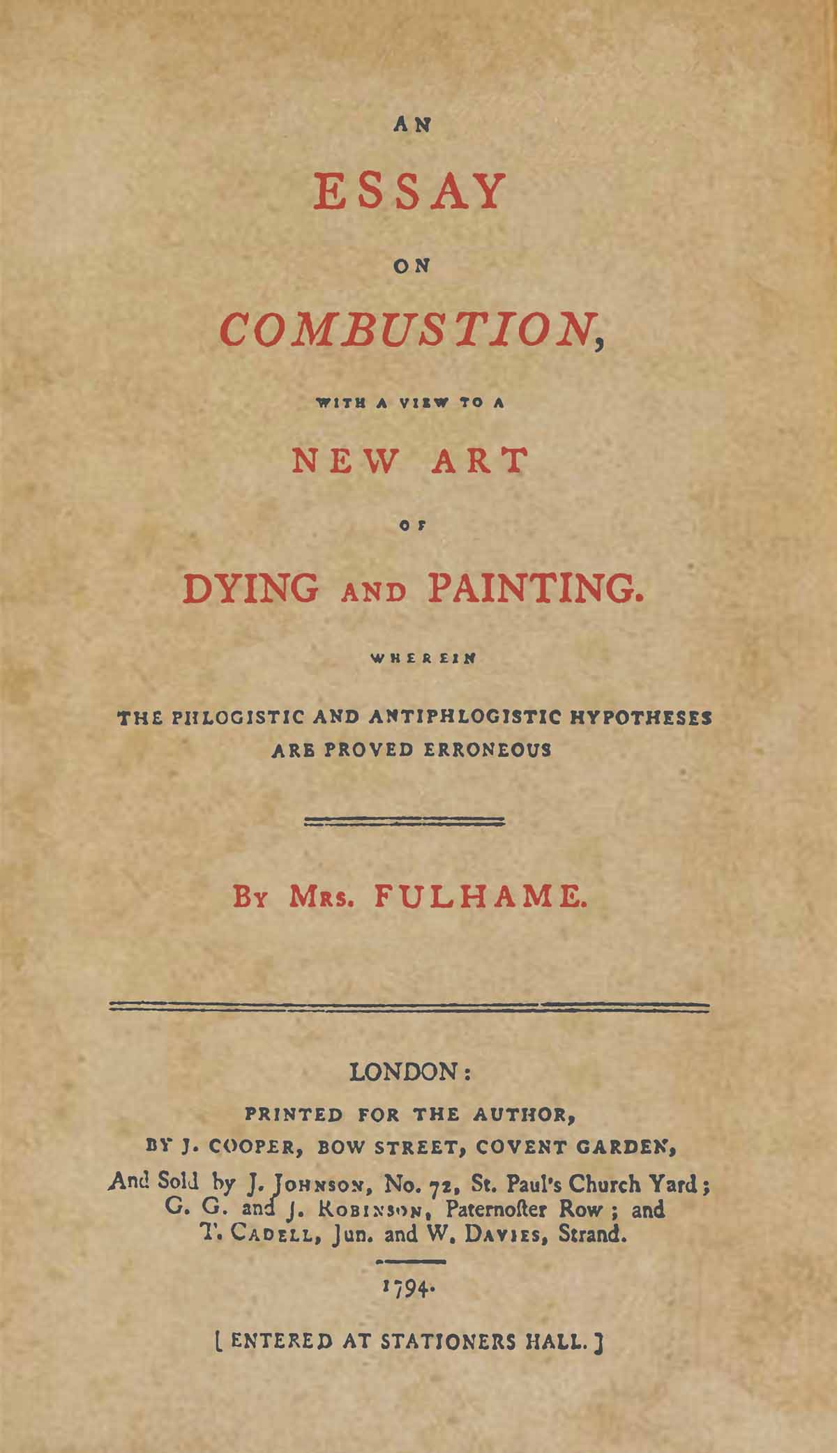 Frontispiece to Elizabeth Fulhame's Essay (1794) © Science Photo Library.