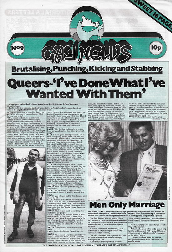 Gay News, Issue 9, October 1972. Courtesy Gay News Archive Project.