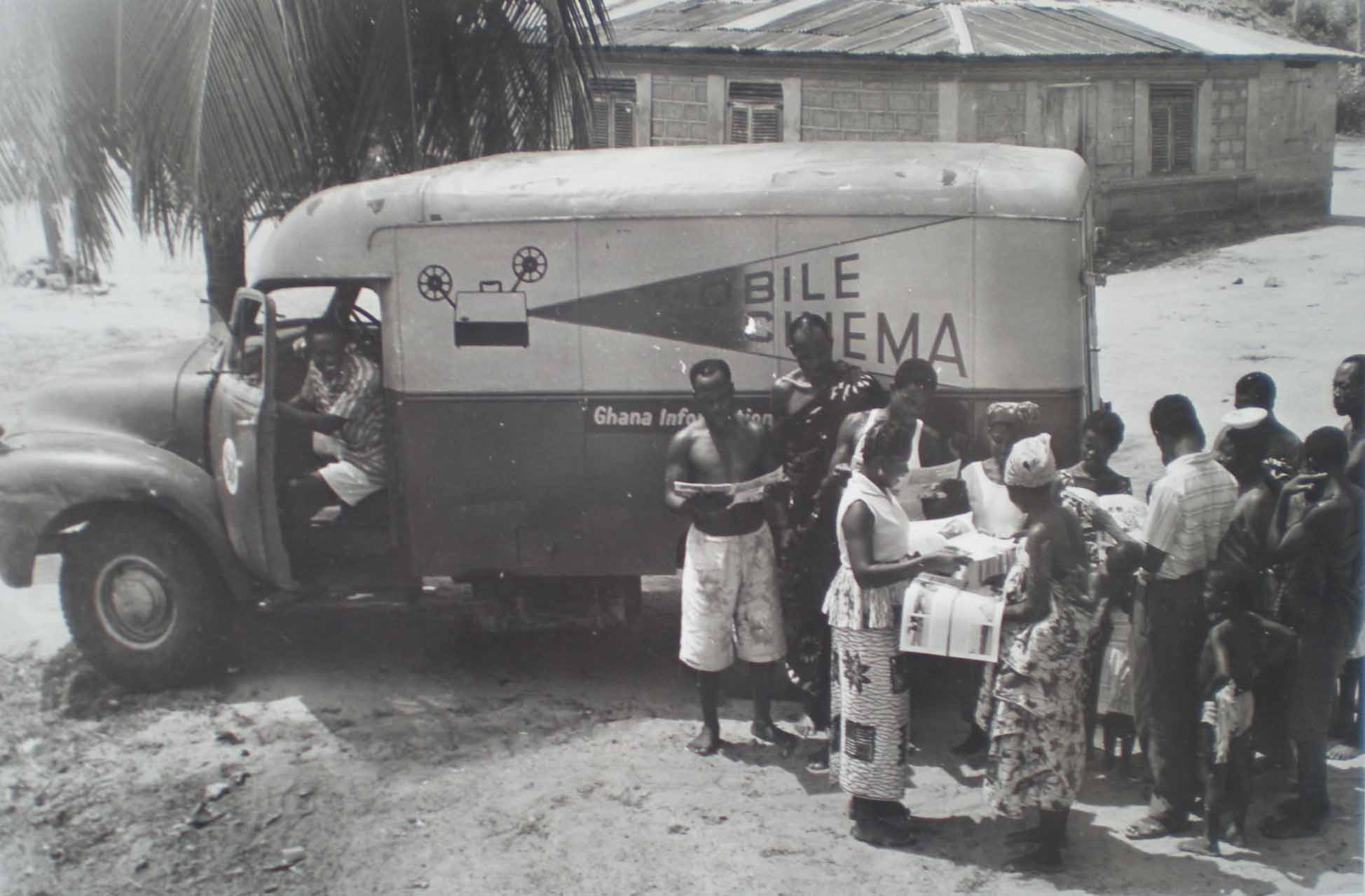 Mobile Cinema Van visits Ghana, 1950s. Information Service Department Photo Library, Ghana.