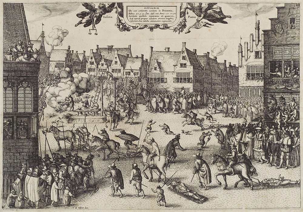 The execution of Guy Fawkes by Claes (Nicolaes) Jansz Visscher.