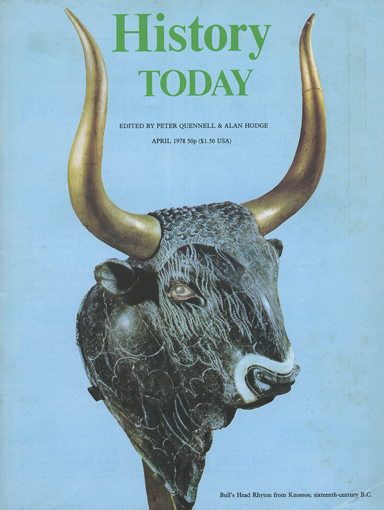 Bull's head rhyton from Knossos, 16th century BC on the cover of History Today, April 1978.