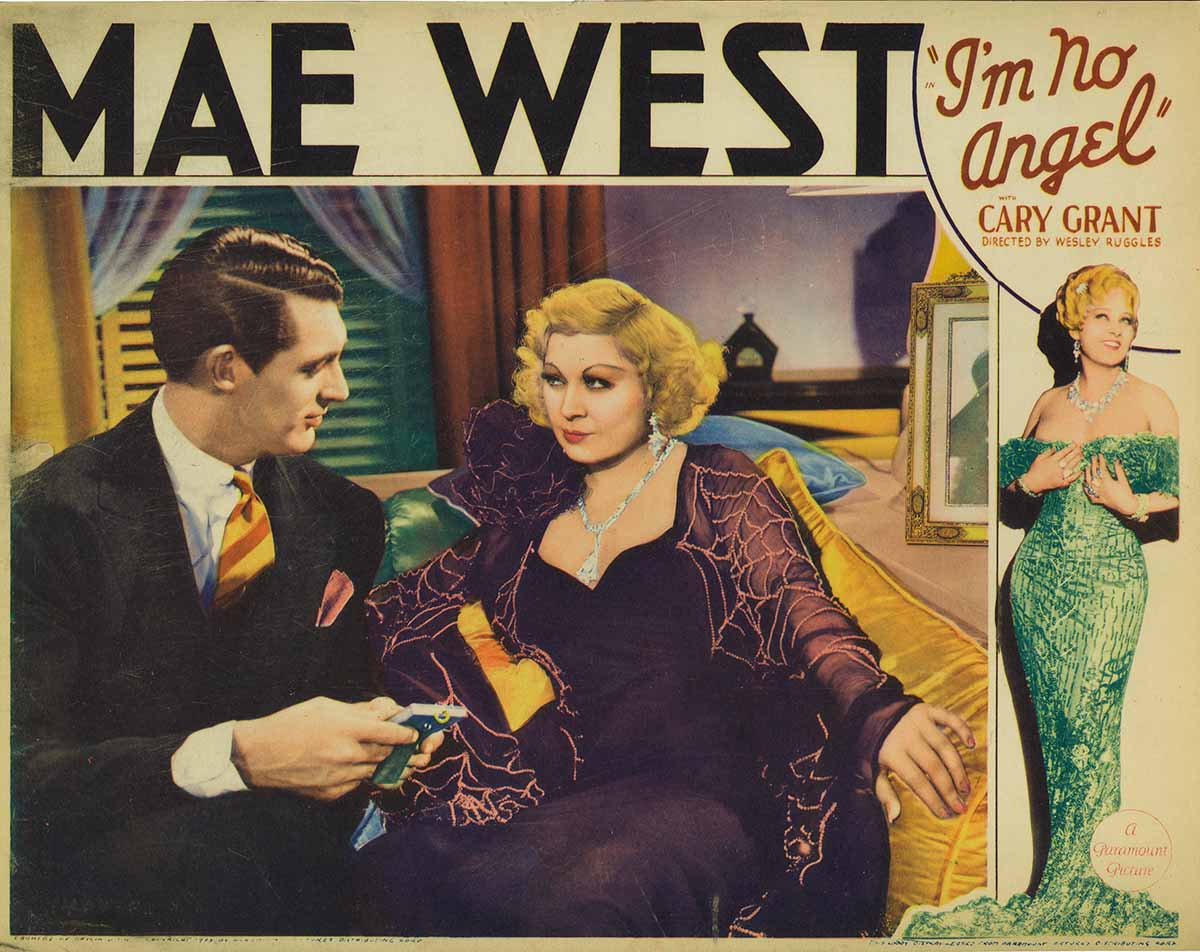 Lobby card for the American film I'm No Angel. 1933.