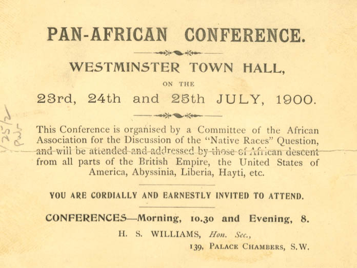 Invitation to Pan-African Conference at Westminster Town Hall, July 1900.