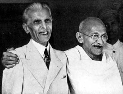 Muhammad Ali Jinnah with Mohandas Gandhi in Bombay, September 1944.