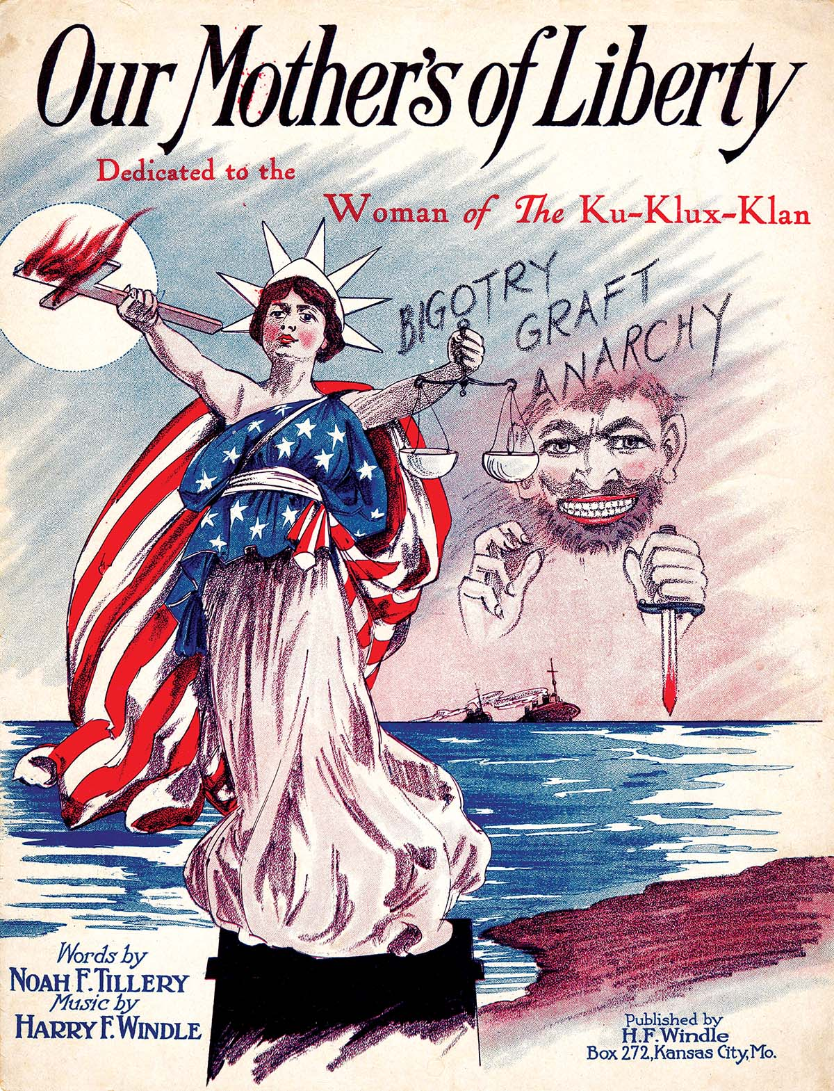 Our Mothers of Liberty, sheet music by Noah Tillery and Harry Windle, dedicated to the women of the Ku Klux Klan, 1924. Alamy.