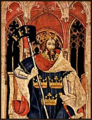 "King Arthur as one of the Nine Worthies, detail from the ""Christian Heroes Tapestry"" dated c. 1385. ""Arthur among the Nine Worthies is always identified by three crowns, which signify regality, on his standard, his shield, or his robe."" -- Geoffrey Ashe, The Quest for Arthur's Britain [Praeger, 1969]"