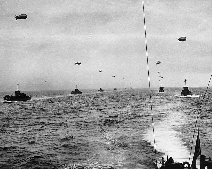 A landing craft convoy crosses the English Channel, 6 June 1944.