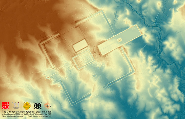 Digital terrain model of Preah Khan, Kompong Svay, showing topographic relief, 2015.