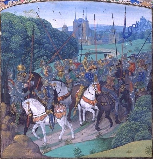 Manuscript showing the madness of Charles VI. On an expedition against Pierre de Craon, the King, brandishing his sword, mistakes the members of his retinue for enemies and attacks them.