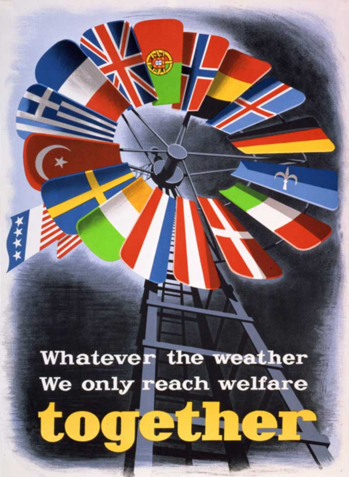 One of a number of posters created by the Economic Cooperation Administration, to promote the Marshall Plan in Europe, 1950. Wiki Commons.
