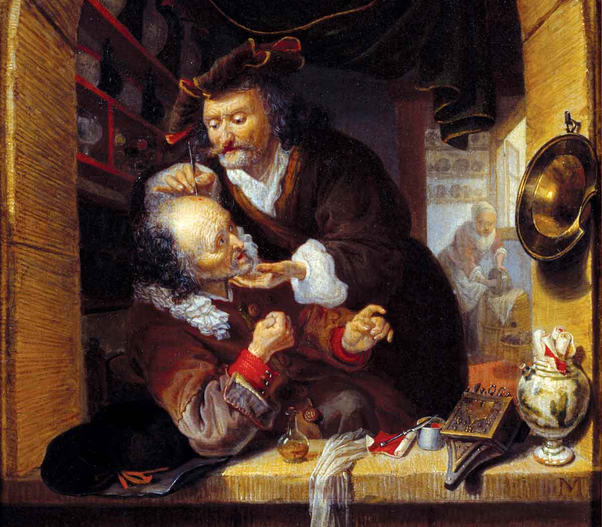 A doctor making a small bleeding to treat his patient's headaches, by Bartholomeus Maton, Dutch, 17th century Photo © Josse/Bridgeman Images.