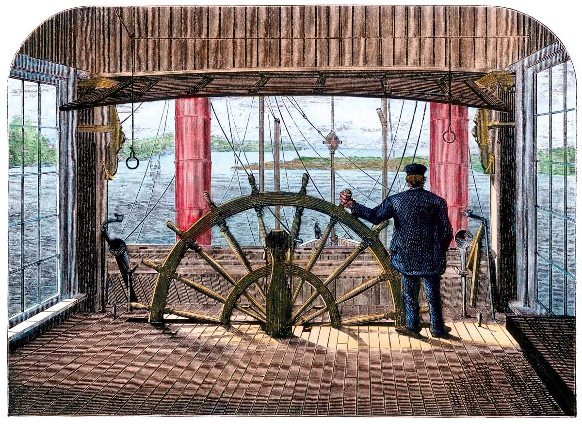 The pilot house of the Great Republic riverboat, hand-coloured woodcut, 1870s © akg-images