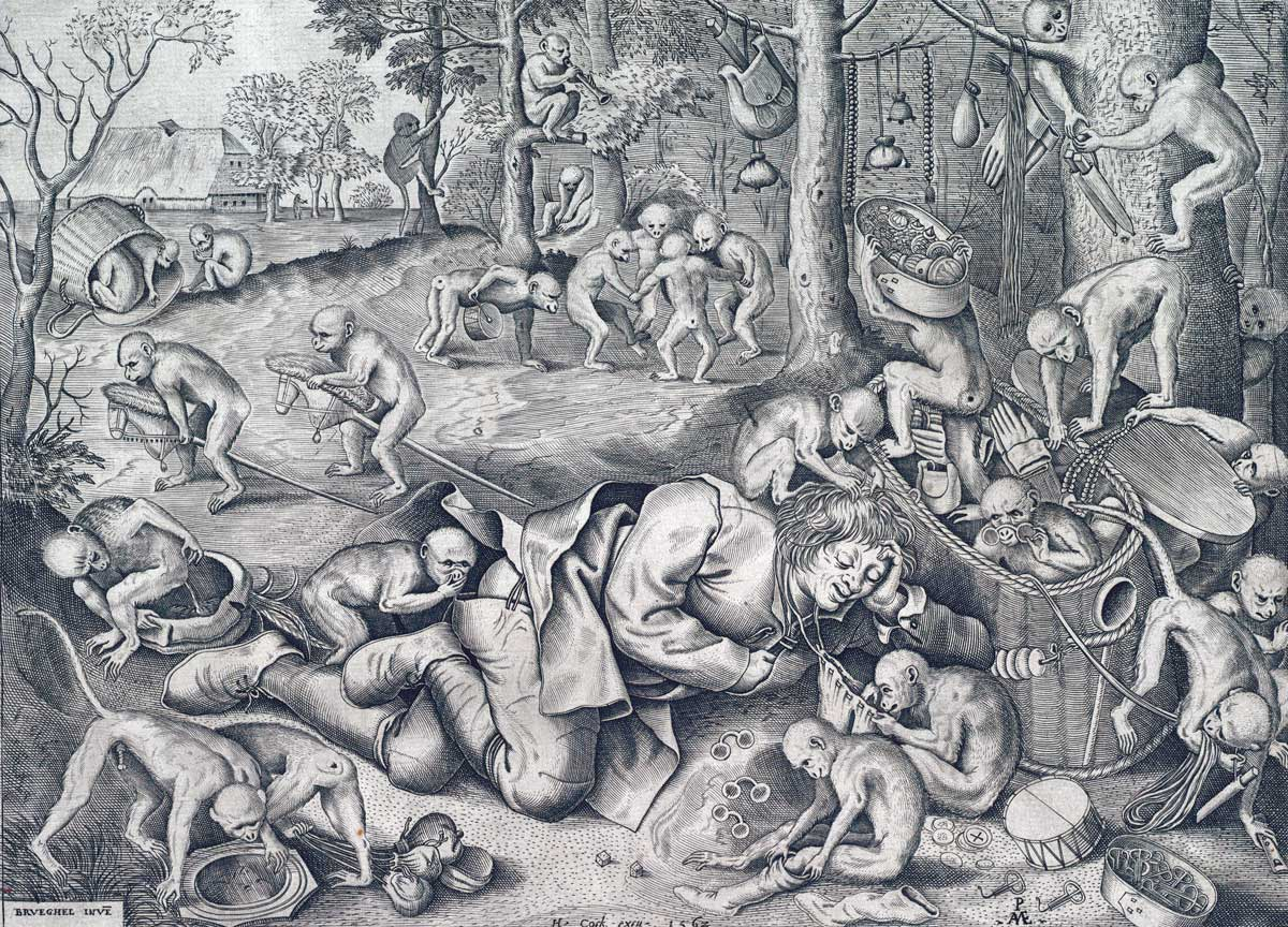 The merchant robbed by monkeys, by Pieter van der Heyden, after Pieter Bruegel the Elder Ä., 1562 © Bridgeman Images.
