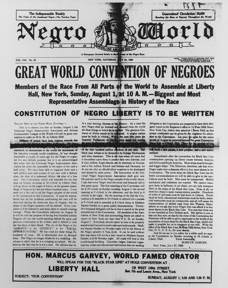 Cover of Negro World, 31 July 1920.