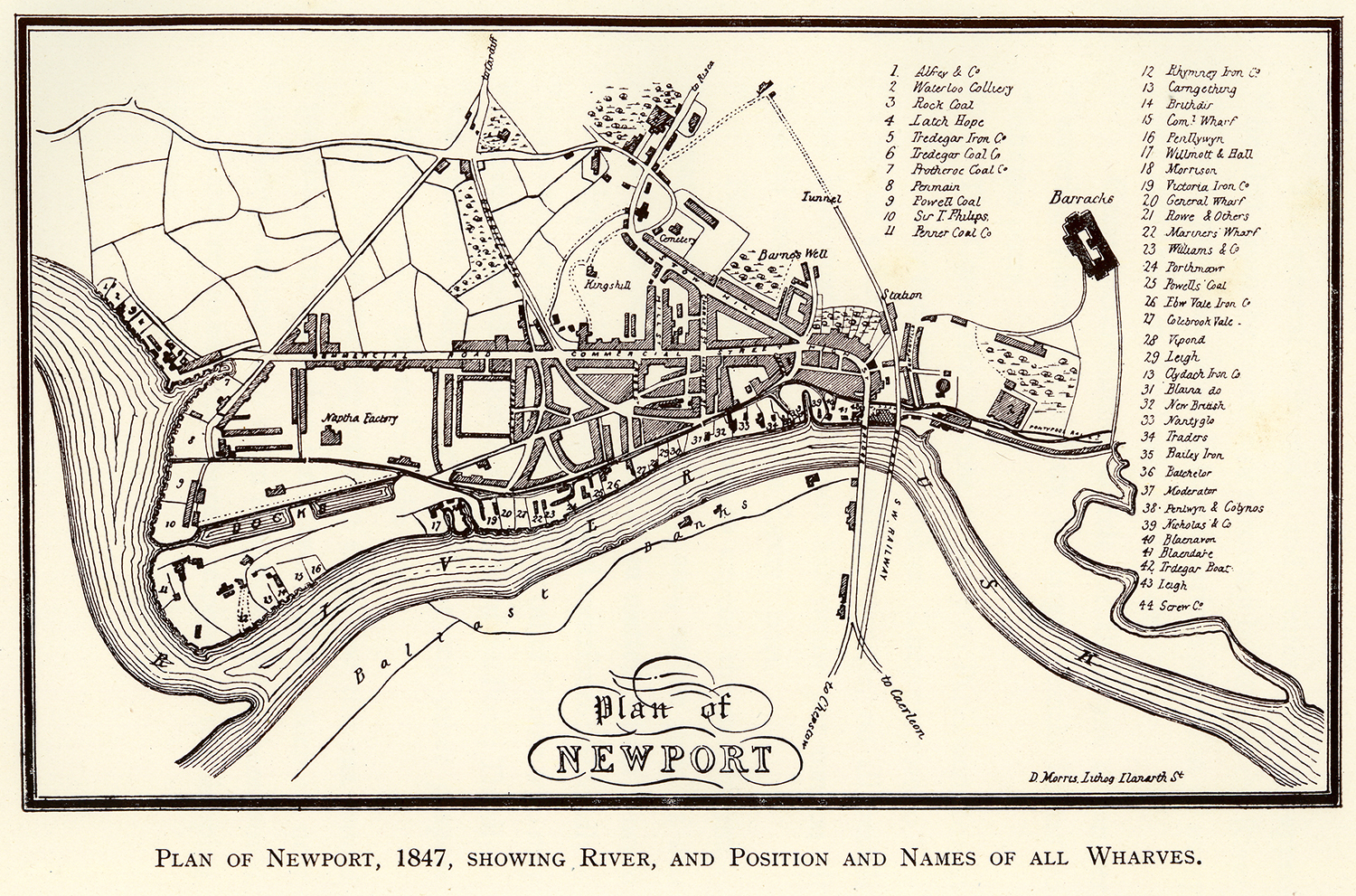 Plan of Newport, 1847. Pillgwenlly is the district numbered 12-16 by the river to the left hand side of the map.