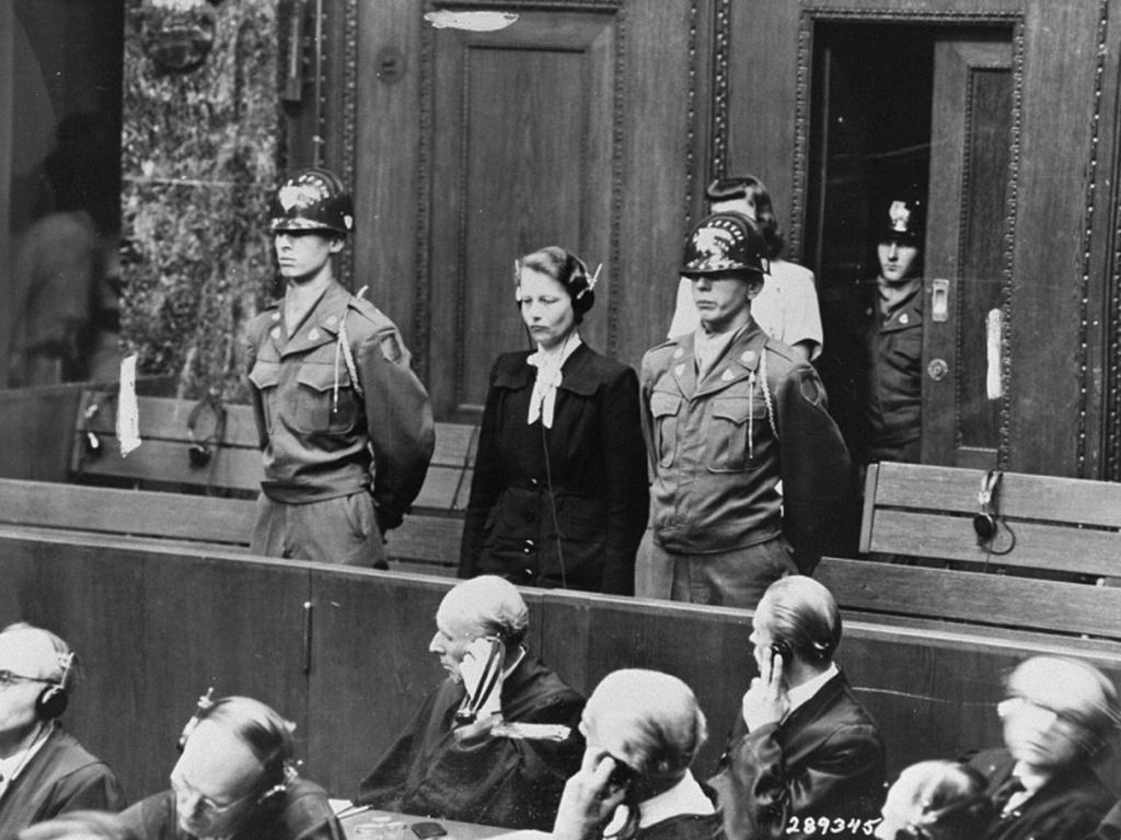 Defendant Herta Oberheuser stands up to receive her sentencing at the Doctors' Trial, Nuremberg 1947.
