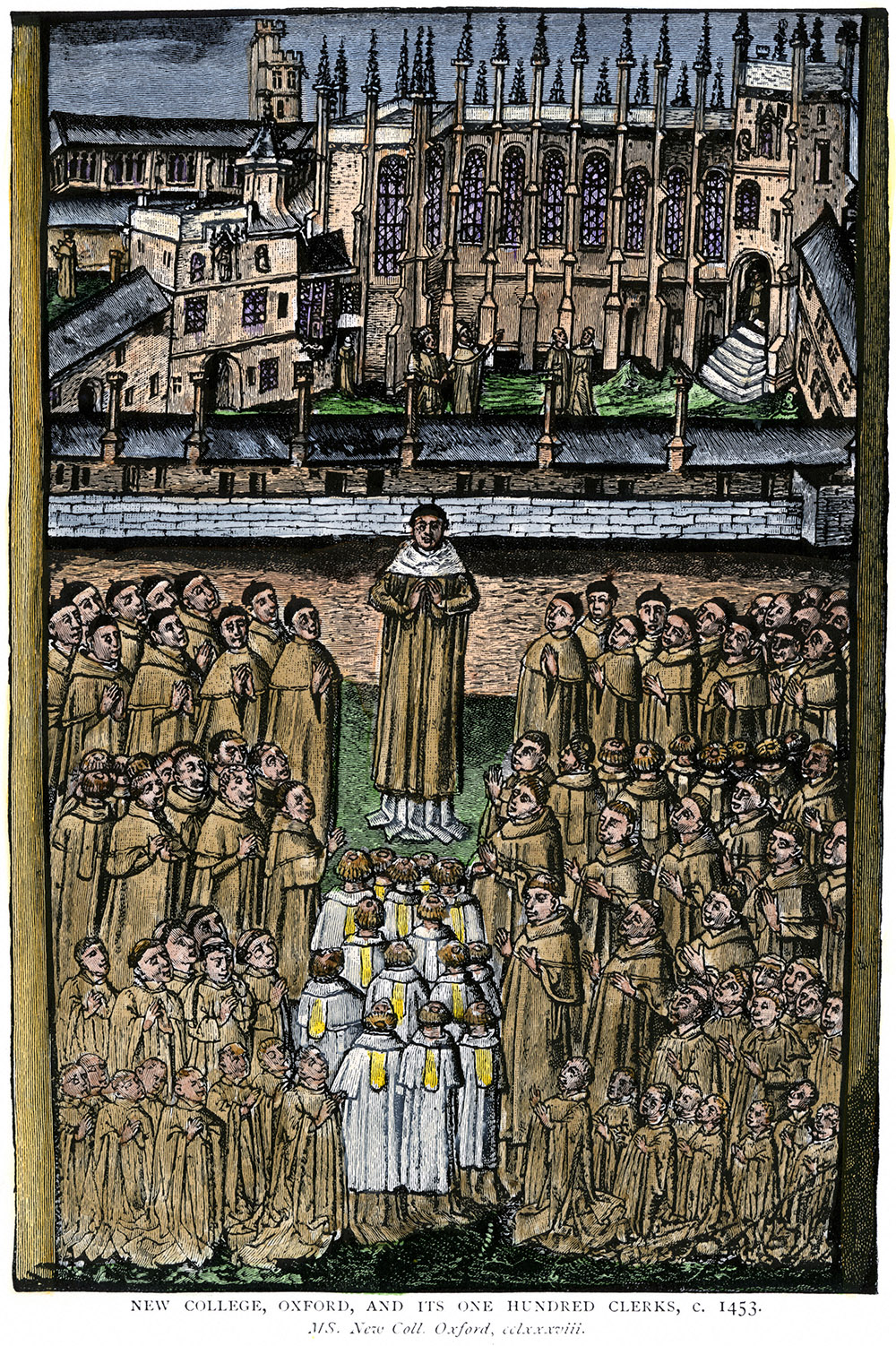 New College Oxford University and its one hundred clerics c.1453.