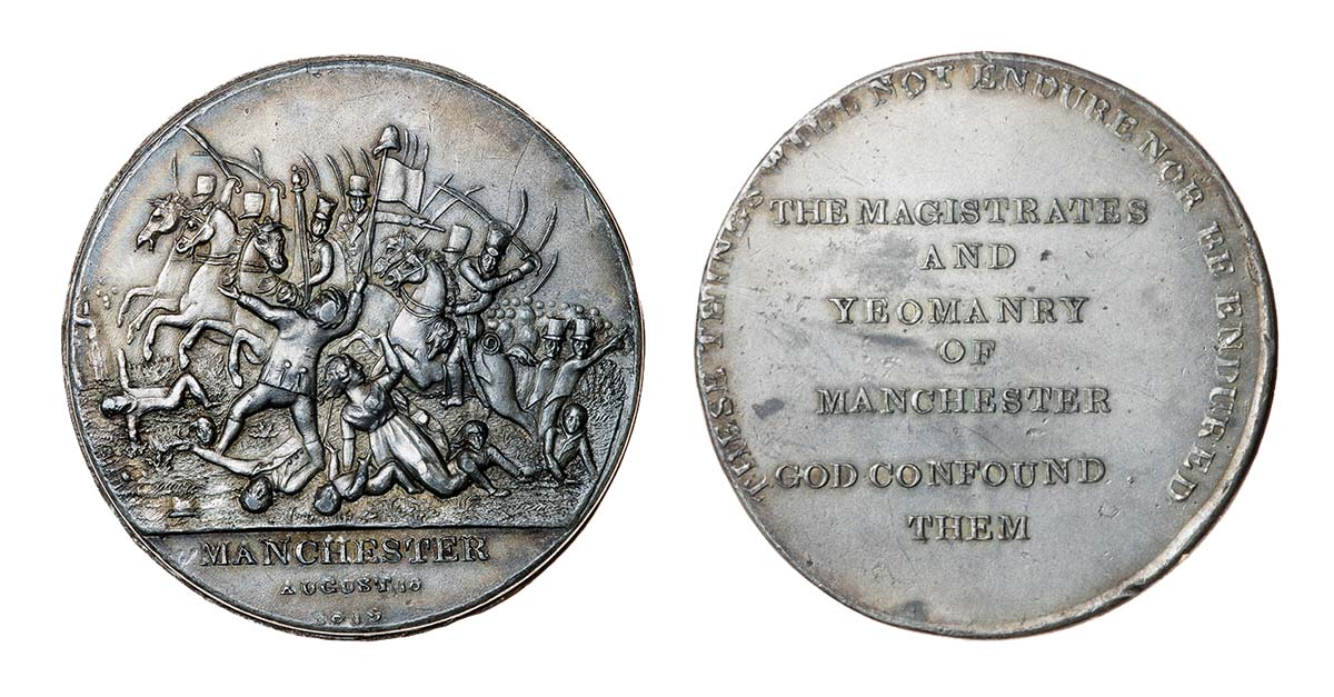 Obverse and Reverse of a medal commemorating the Peterloo Massacre, 19th century © Timothy Millett Collection/Bridgeman Images