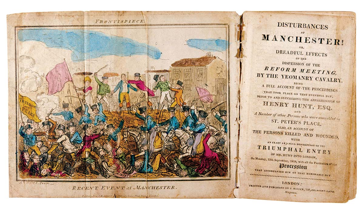 Disturbances at Manchester!, illustration by Atkins, 1819 © Mary Evans Picture Library