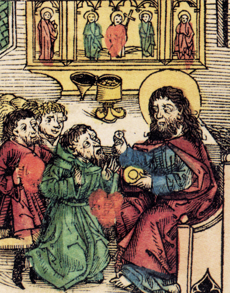 Prester John receives the eucharist from Jesus Christ, 1493.