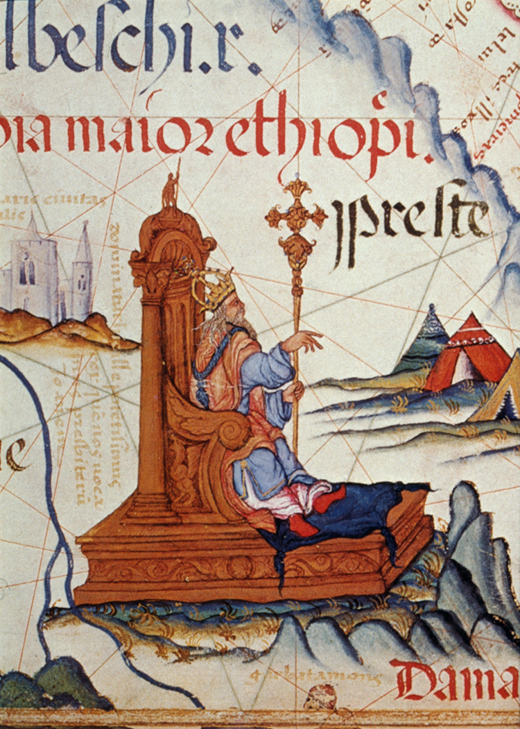 Prester John enthroned on a map of East Africa. Detail from 16th century atlas.