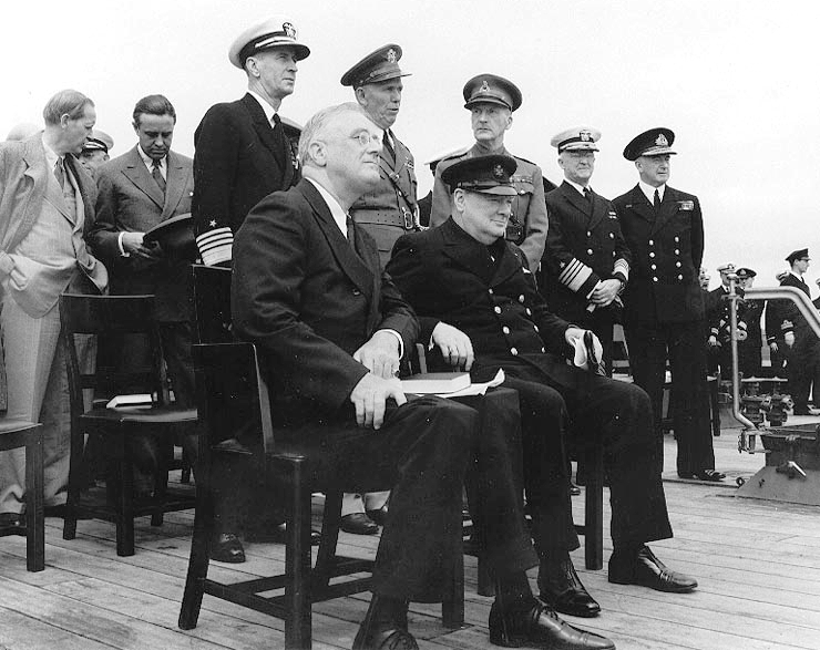 Churchill and Roosevelt aboard HMS Prince of Wales, 1941.