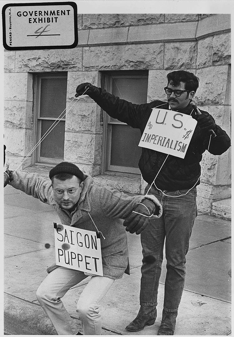 Protesters in front of Wichita City Building, Kansas, 1967.