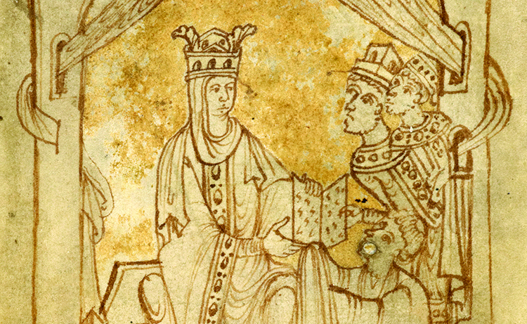 Emma receives the Encomium from its author, flanked by Harthacnut and Edward, 11th century (c) British Library Board/Bridgeman Images